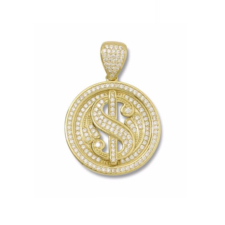 10k Yellow Gold CZ Dollar Sign Pendant
