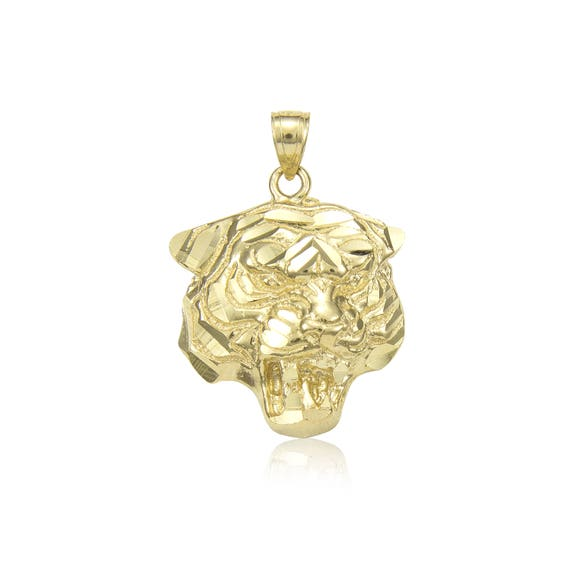 14K Solid Yellow Gold Lion Head Pendant Face Polished Necklace Charm Men Women