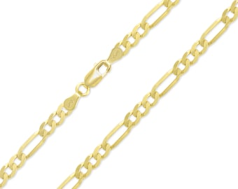 """10K Yellow Gold Hollow Figaro Necklace Chain 5.5mm 18-30"""" - Polished Link"""