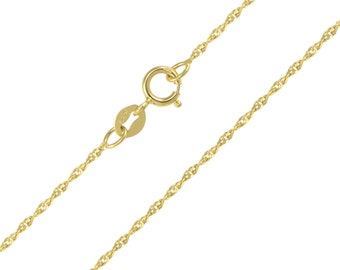 """14K Solid Yellow Gold Singapore Necklace Chain 1.1mm 16-24"""" - Diamond Cut Link"""