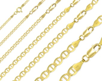 """10K Solid Yellow Gold Mariner Necklace Chain 2.0-6.0mm 16-30"""" - Anchor Link"""