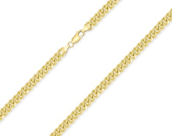 """10K Yellow Gold Hollow Miami Cuban Necklace Chain 4.5mm 18-30"""" - Round Curb Link"""