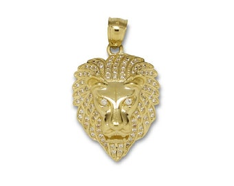 10K Solid Yellow Gold Cubic Zirconia Lion Head Pendant - Face Necklace Charm