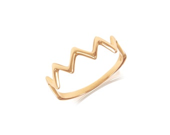 14K Solid Rose Gold Zigzag Ring - Wave Crown Thunder Stackable Finger Knuckle Midi Thumb Band