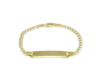 """14K Solid Yellow Gold Personalized Cuban ID Bracelet 4.0mm 6"""" - Free Engraving Baby Kids"""