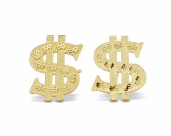 10K Solid Yellow Gold Dollar Sign Stud Earrings - Money