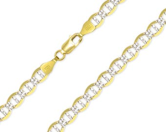 """14K Solid Yellow Gold White Pave Mariner Necklace Chain 6.5mm 20-26"""" - Diamond Cut Anchor Link"""