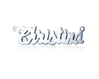 14K Solid White Gold Personalized Custom Cursive Name Pendant - Alphabet Letter Necklace Charm