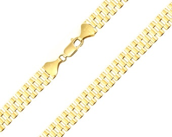 """10K Solid Yellow Gold Rolex Necklace Chain 8.0mm 18-30"""" - Watch Band Link"""