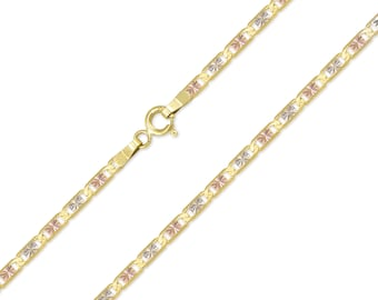 """14K Solid Yellow White Rose Gold Valentino Necklace Chain 2.1mm 16-24"""" - Tri Color Link"""