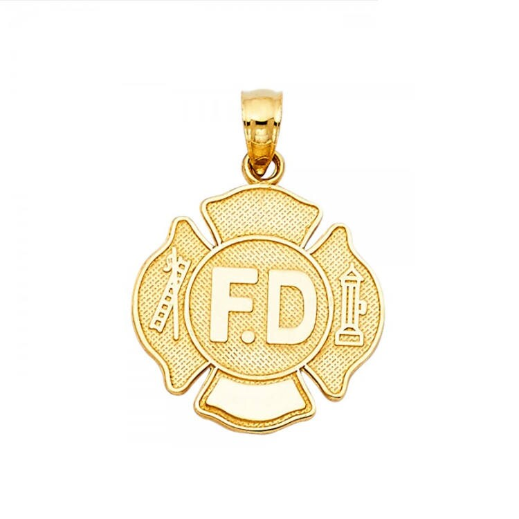 Details about  /14K Real Solid Yellow Gold Fire Department Pendant For Men Women