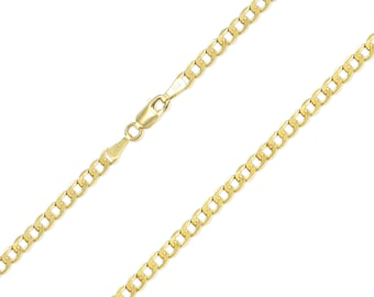 """10K Yellow Gold Hollow Cuban Necklace Chain 3.5mm 16-30"""" - Round Curb Link"""