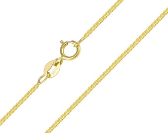 """14K Solid Yellow Gold Wheat Necklace Chain 1.0mm 16-22"""" - Foxtail Link"""
