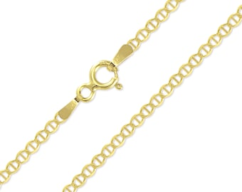 """10K Solid Yellow Gold Custom Mariner Choker Necklace Chain 2.0mm 11-15"""" - Anchor Link"""
