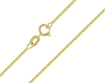 """14K Solid Yellow Gold Box Necklace Chain 0.8mm 16-24"""" - Polished Link"""