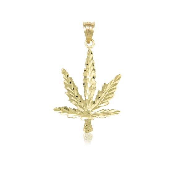 "14K Solid Yellow Gold Tiny Diamond Cut 0.8/"" Marijuana Leaf Charm Pendant."