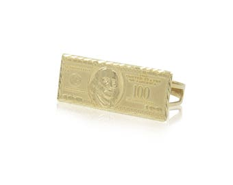 10K Solid Yellow Gold One Hundred Dollar Ring - 100 Bill Money Knuckle Band