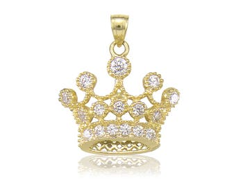 10K Solid Yellow Gold Cubic Zirconia Crown Pendant - Royal Necklace Charm