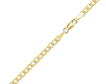 "14K Yellow Gold Hollow Cuban Bracelet 4.5mm 7-9"" - Curb Chain Link"