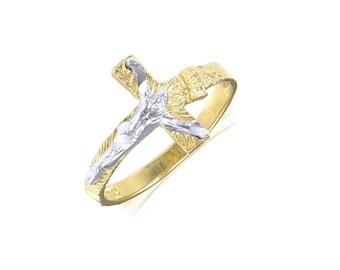 14K Solid Yellow White Gold Sideways Crucifix Cross Ring - INRI Jesus Religious Band