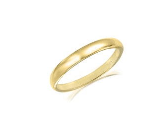 14K Solid Yellow Gold Regular Fit Plain Wedding Band Ring 2.0mm Size 5-13 - Polished