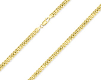 """10K Yellow Gold Hollow Miami Cuban Necklace Chain 4.0mm 18-30"""" - Round Curb Link"""