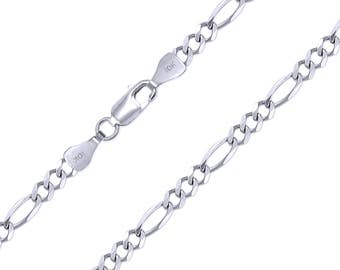 """10K Solid White Gold Figaro Necklace Chain 7.5mm 20-30"""" - Polished Link"""