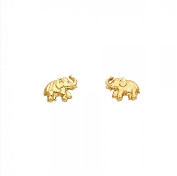 9ct Yellow Gold Elephant Animal Stud Earrings Solid Gold Box Gift Jewellery