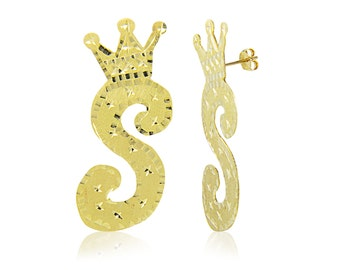 10K Solid Yellow Gold Custom Crown Initial Letter Stud Earrings - A-Z Any Alphabet