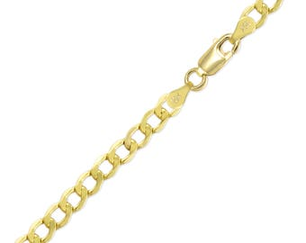 "10K Yellow Gold Hollow Cuban Bracelet 6.5mm 8-9"" - Curb Chain Link"