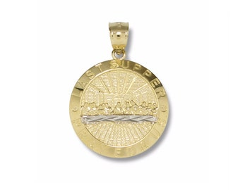 14K Solid Yellow White Gold Last Supper Medal Pendant - Pray For Us Necklace Charm