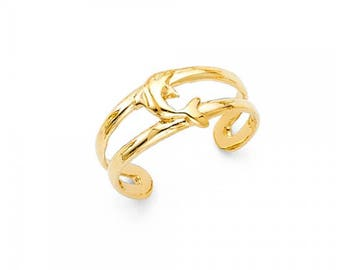 14K Solid Yellow Gold Dolphin Toe Ring Adjustable - Fish Foot Feet Polished Band