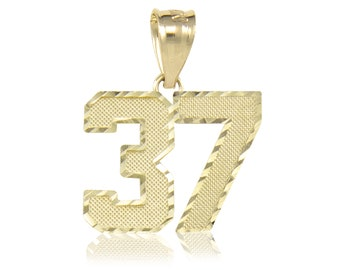 10K Solid Yellow Gold Custom Two Digit Number Pendant - 10-99 Diamond Cut Necklace Charm
