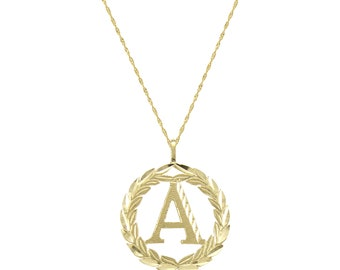 14K Solid Yellow Gold Wreath Initial Letter Pendant Singapore Chain Necklace Set - A-Z Any Alphabet Charm