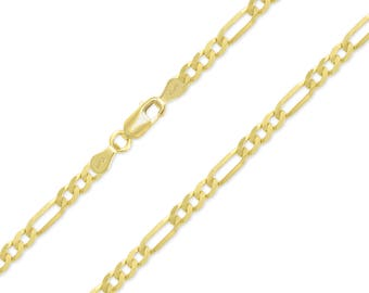 """10K Yellow Gold Hollow Figaro Necklace Chain 4.5mm 18-30"""" - Polished Link"""