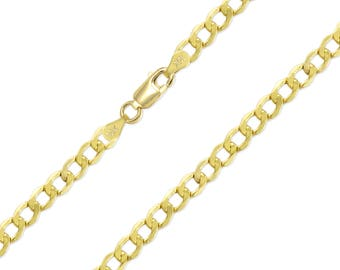 """10K Yellow Gold Hollow Cuban Necklace Chain 5.5mm 20-30"""" - Round Curb Link"""
