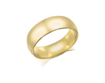 10K Solid Yellow Gold Regular Fit Plain Wedding Band Ring 6.0mm Size 5-13 - Polished