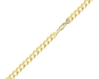 """14K Solid Yellow Gold Cuban Bracelet 5.0mm 7-9"""" - Curb Chain Link"""