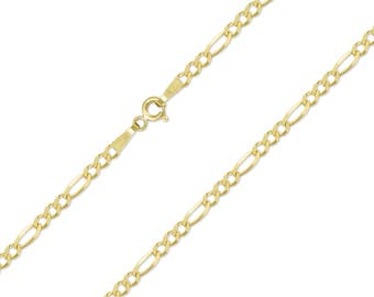"""14K Solid Yellow Gold Figaro Necklace Chain 2.5mm 16-24"""" - Polished Link"""