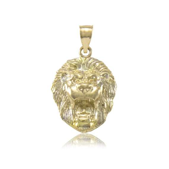 10K Solid Yellow Gold Lion Head Pendant Face Necklace Charm  542c5cadd1