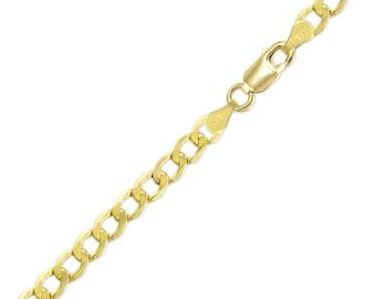 "14K Yellow Gold Hollow Cuban Bracelet 6.5mm 8-9"" - Curb Chain Link"