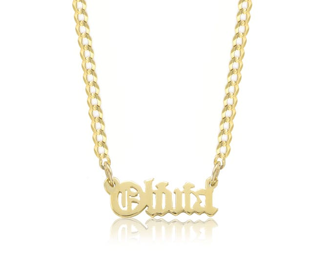 Featured listing image: 10K Solid Yellow Gold Personalized Custom Old English Name Pendant Cuban Chain Choker Necklace Set - Alphabet Letter Charm