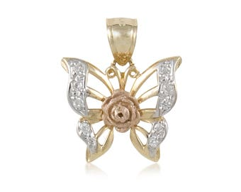 14K Solid Yellow White Rose Gold Butterfly Pendant - Multi Tone Necklace Charm
