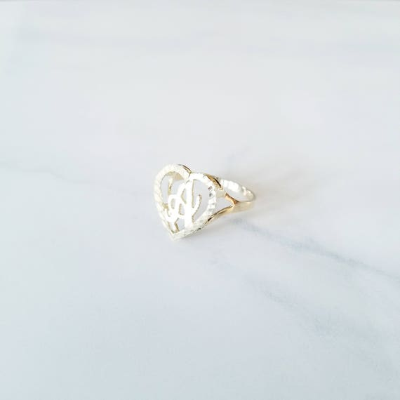 10K Solid Yellow Gold Heart Initial Letter Ring A-Z Any Alphabet Love Band New