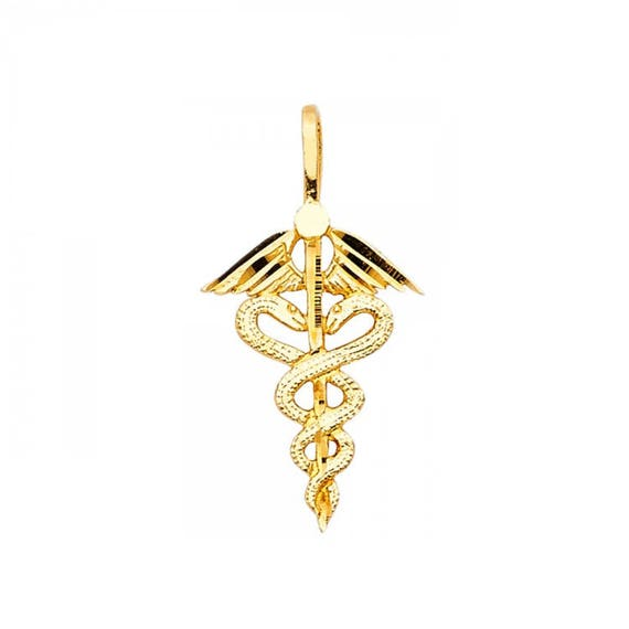 14K Yellow Gold Cadeusus Pendant on an Adjustable 14K Yellow Gold Chain Necklace