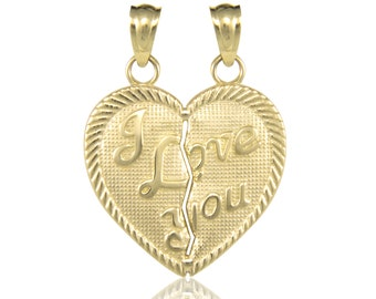 14K Solid Yellow Gold I Love You Half Heart Pendant - Necklace Charm