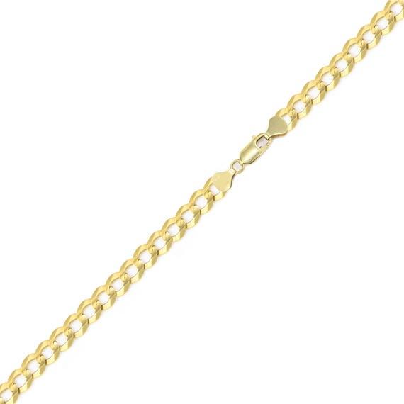 "Curb Chain Link Men Women 14K Yellow Gold Hollow Cuban Bracelet 4.5mm 7-9/"""