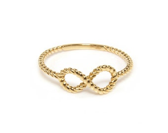 14K Solid Yellow Gold Infinity Rope Ring - Stackable Finger Knuckle Midi Thumb Love Band