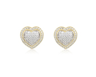 10K Solid Yellow Gold Cubic Zirconia Heart Stud Earrings - Love
