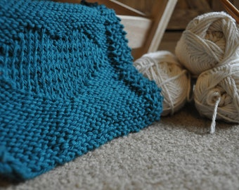 Handmade Teal and White Cotton Heart Knit Wash Cloth